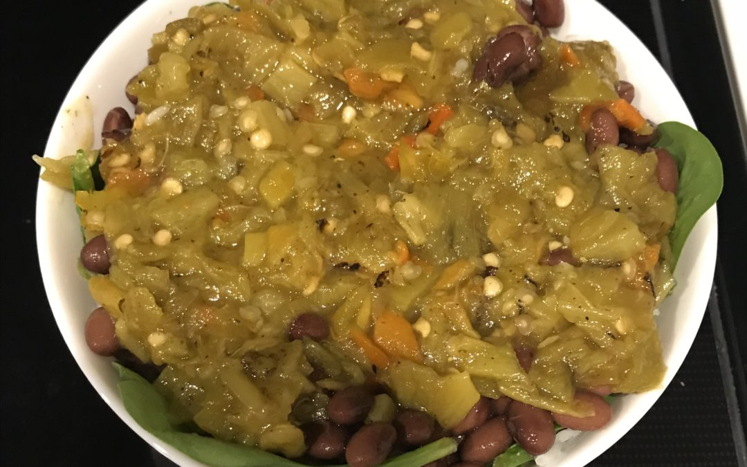"""Meatless Monday"": Hatch Chili Bean and Rice Bowl"